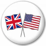 Great Britain and USA Friendship Flag 25mm Pin Button Badge